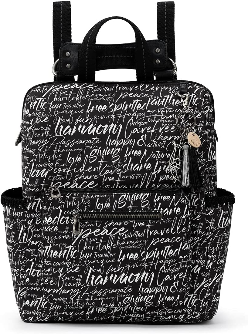 Sakroots Eco-Twill Loyola Convertible Backpack, Black & White Peace Script