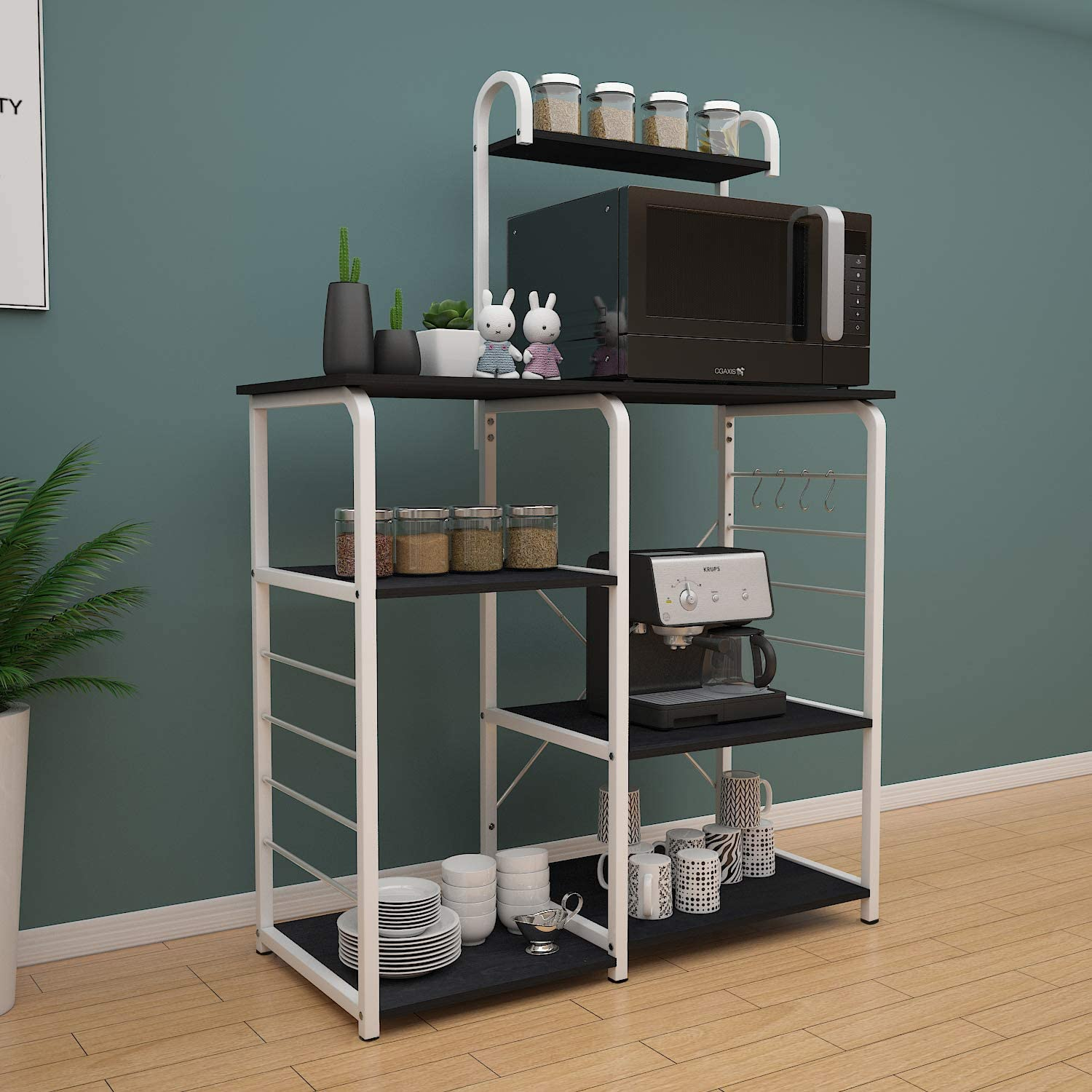 SogesHome 4-Tier Kitchen Baker's Rack Utility Microwave Oven Stand Storage Cart Workstation Shelf,Black 172-BK-SH