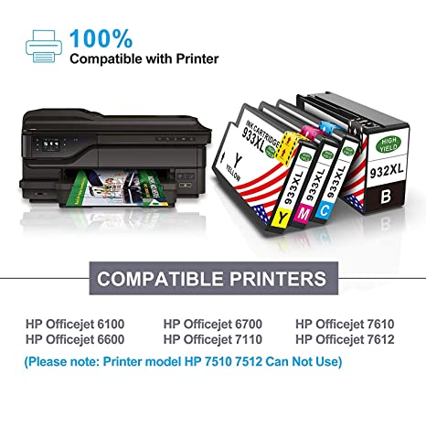 Toner Kingdom 5 Paquete Cartuchos de Tinta Compatible HP 932XL ...