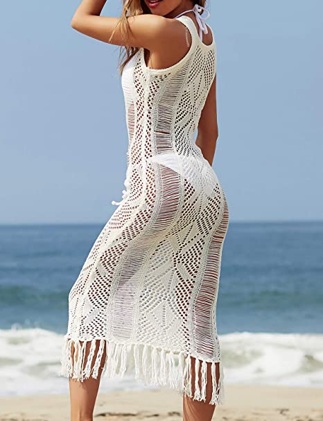 b984f0e7e6 CXINS Women's Crochet Knit Fringe Midi Dress Tassel Bathing Suit Bikini  Swimsuit Cover Up Hollow Out Swimwear Beachwear OneSize Black at Amazon  Women's ...
