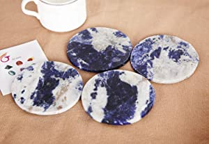 """JIC Gem 3.5-4"""" Blue Sodalite Gemstone Natural Sliced Crystal Coaster Set of 4 About 8-10 cm Geode Decrative Coasters for Home and Office Small Drink Cup Decor with Rubber Bumper"""