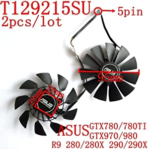 PUULI 2pcs/lot T129215SU DC Brushless Fan 12V 0.5A 95mm For ASUS GTX780/780TI R9 280/280X 290/290x GTX970/980 Cooling Fan Graphics Card Fan