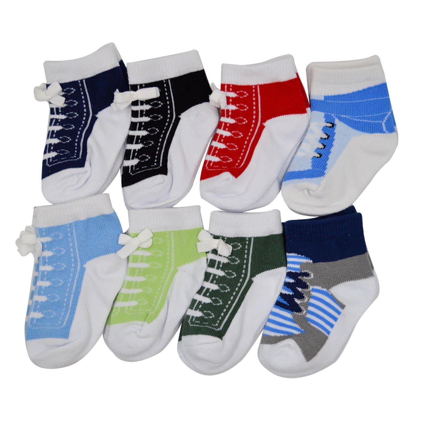 AiSi 8 Paires Chaussettes Bébé Enfant Elastique en Coton pour Garçon Fille 0-12 Mois wz-00926h