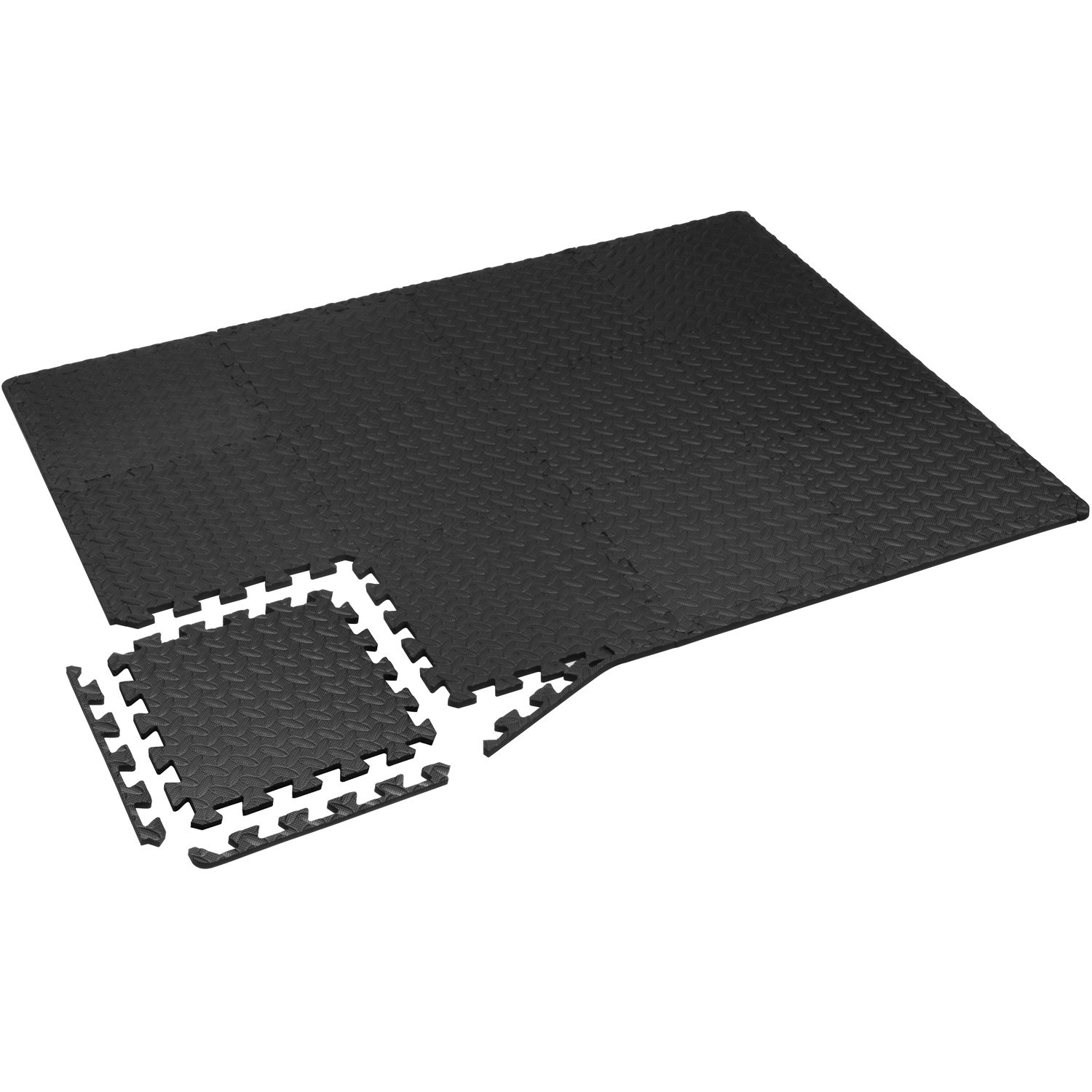 Yes4All Interlocking Exercise Foam Mats with Border – Interlocking Floor Mats for Gym Equipment – Eva Interlocking Floor Tiles (12 Square Feet, Black) by Yes4All (Image #5)