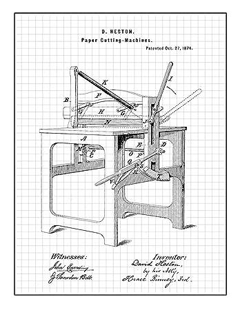 Amazon Com Paper Cutting Machines Patent Print Art Poster Black
