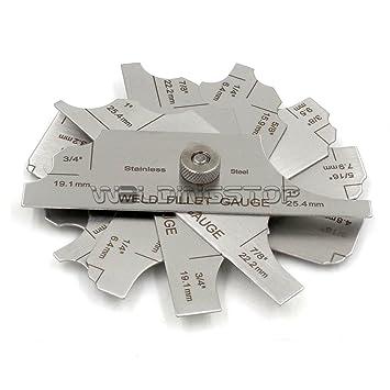 Calibre de filete del cordón de soldadura calibre soldadura Medición (pouce7pcs MG-8: Amazon.es: Bricolaje y herramientas
