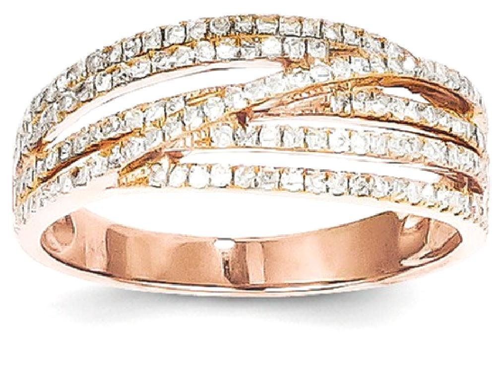 ICE CARATS 14k Rose Gold Diamond Band Ring Size 7.00 Stone Fine Jewelry Gift Set For Women Heart