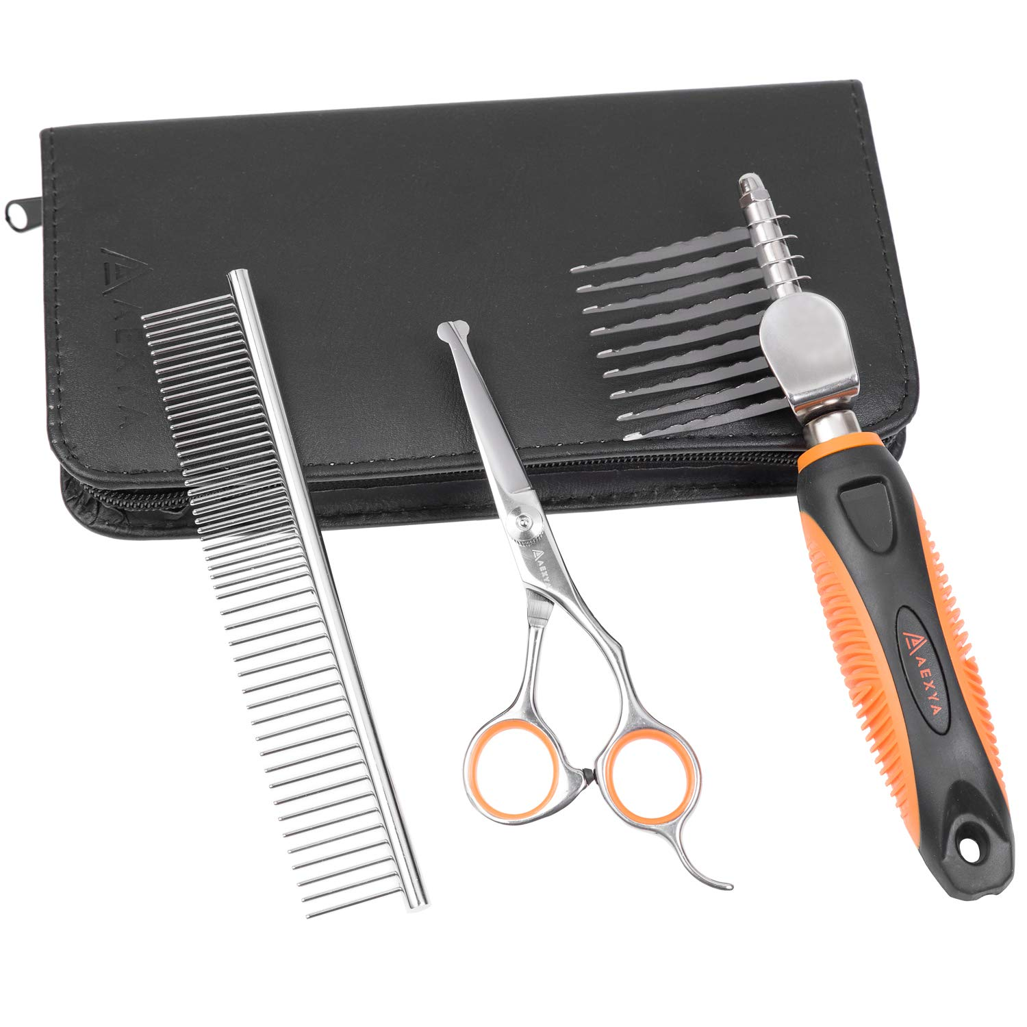 AEXYA - Premium Dog Dematting Tools Comb Scissors Set - Undercoat Tangles Deshedding Tool for Cats and Dogs – Safe and Easy Mats Remover Rake