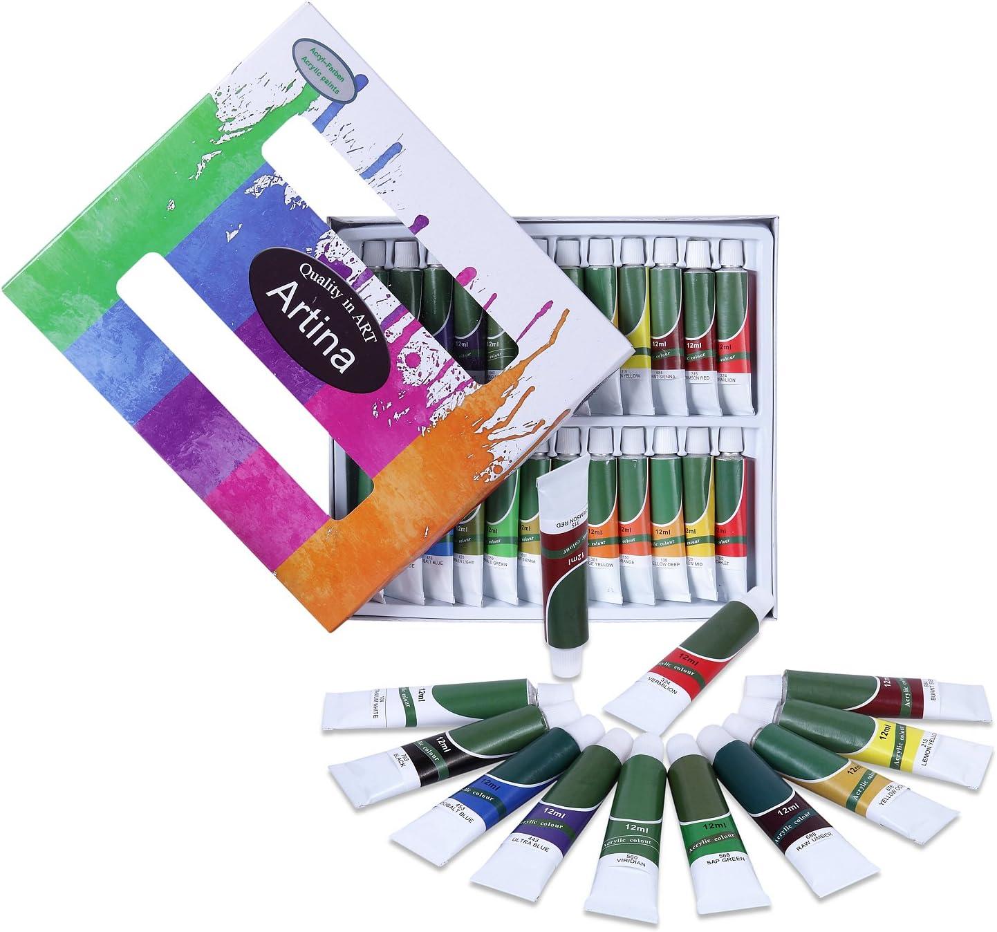 Artina Kit per Pittura acrilica con 12 Colori acrilici 1 Set da 15 pennelli 1 tavolozza per artisti pittori Belle Arti