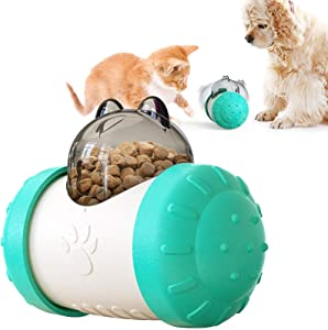 Dog Food Ball Cat Toy, Treatment Ball Tumbler Automatic Pet Slow Feeder Abs Material Increases Iq Suitable for Dogs and Cats and Other Animals (Lake Blue)