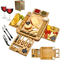 Cheese Board 2 Ceramic Bowls 2 Serving Plates. Magnetic 4 Drawers Bamboo Charcuterie Cutlery Knife Set, 2 Server Forks…