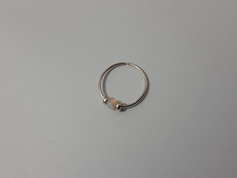 opal piercing hoop,tiny piercing hoop,piercing 24gauge,silver piercing hoop