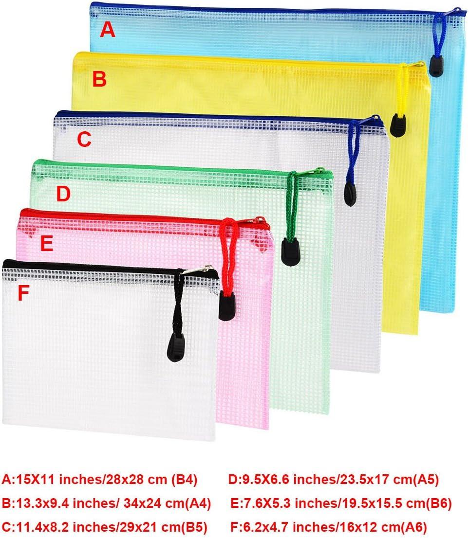6pcs Chemise Paquet Portefeuille Pochette en PVC Zip Document Dossier //PVC School Office Magazine Document File Zippy Closure Folder Holder Bag-Noir-A4