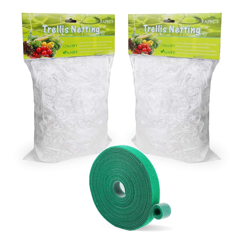 EAPFCT Trellis Netting 5x30ft 2 Pack Heavy-Duty Polyester Plant Support Trellis Net for Climbing Plants Garden Trellis Netting 6'' Mesh with Garden Ties