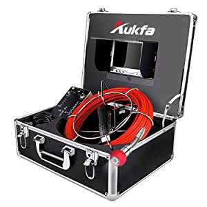 Aukfa Sewer Camera 100ft Snake Cam with Distance Counter DVR Video Sewer Pipe Inspection Equipment 7 inch LCD Monitor Duct HVAC 1000TVL Sony CCD Endoscope Waterproof Ip68 Camera (8GB SD Card)