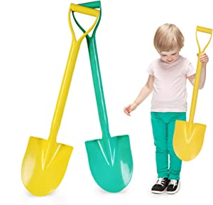 Beach Shovels, 25 Inch Sand Shovels for Kids, Heavy Duty Kids Plastic Beach Shovel Tool Kit, Shovel Toys for Toddlers with Handle for Digging Sand Beach Fun Gift Twin Set Bundle 2 Pack
