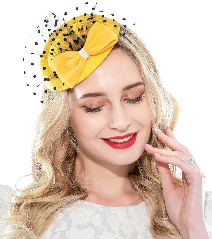 Zivyes Bonnet bibi pour femme des ann/ées 20 et 50 avec bandeau en voile