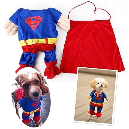 EQLEF® Ropa para perros, gato, mascotas, disfraces de Superman, para Halloween