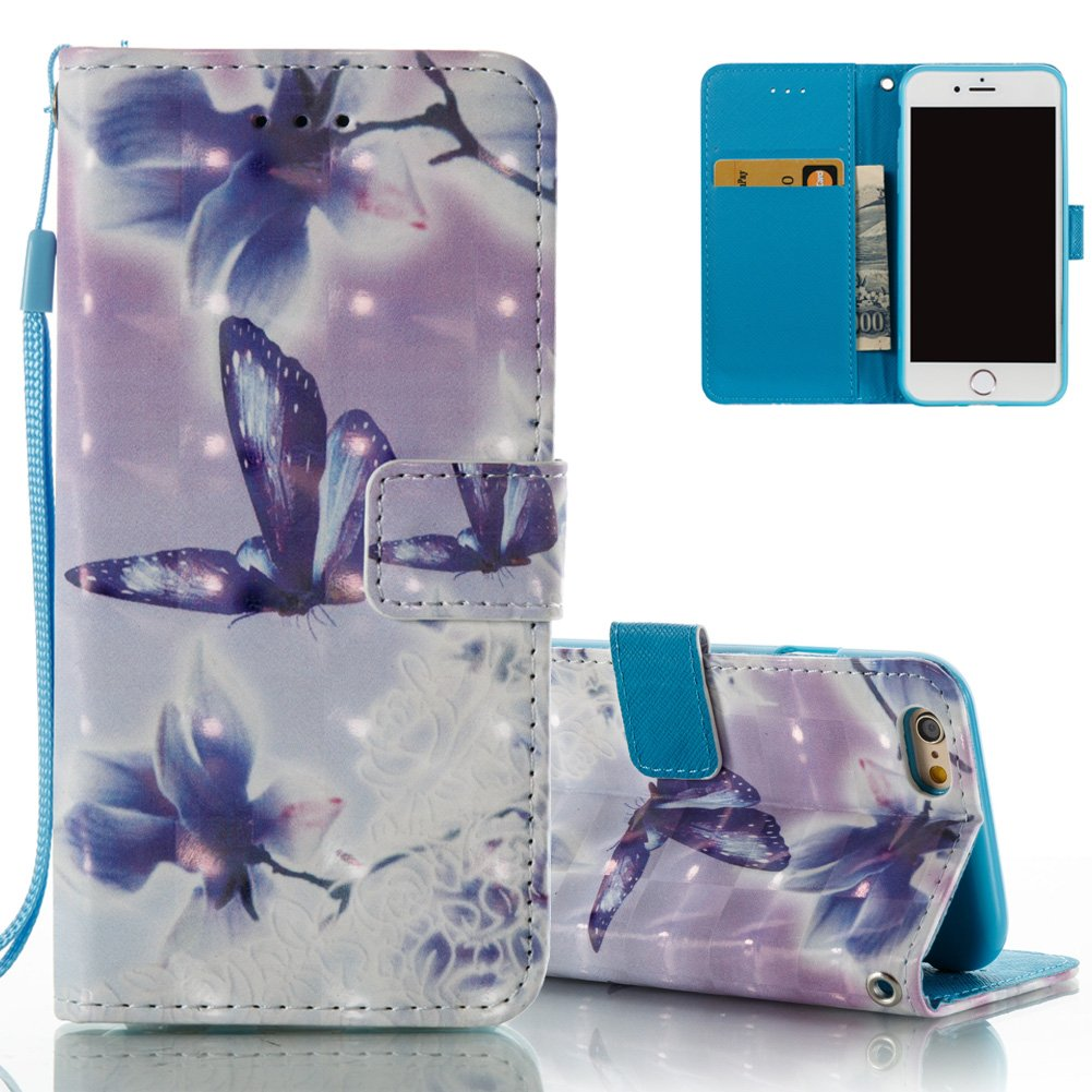 iPhone 7/8 Wallet Case iPhone 7 Flip Cover Aeeque Shockproof Slim Fit Magnetic PU Leather Phone Cases Bumper Protective Cover with Card Holder Stand Strap for iPhone 8 (2017), Grey Blue Flower NEAEB014837