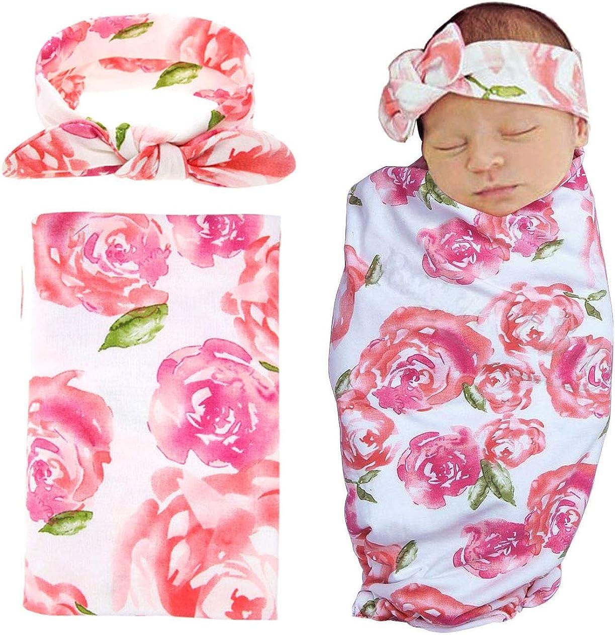 Infant Sage Swaddle with Headband Newborn Baby Swaddle Sack Newborn Photography Prop Pink Floral Baby Swaddle Wrap Cocoon Swaddle Sleeping Bag