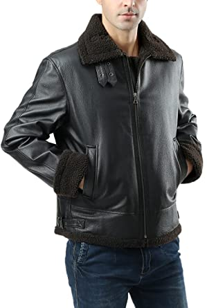 Landing Leathers Men's B-3 Sherpa Lined Leather Flight Bomber ...