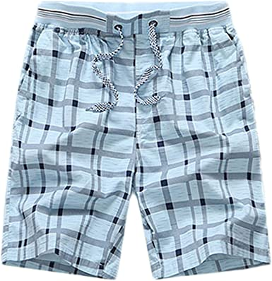 Men Casual Elastic Waist Plaid Swim Shorts Trunks