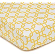 American Baby Company 100% Natural Cotton Percale Fitted Crib Sheet for Standard Crib and Toddler Mattresses, Golden Yellow Twill Gotcha, Soft Breathable, for Boys and Girls
