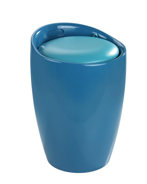Wenko 20625100 Sgabello da bagno Candy Petrol con sacco portabiancheria estraibile, diametro 36 x 50.5 cm, Petrolio