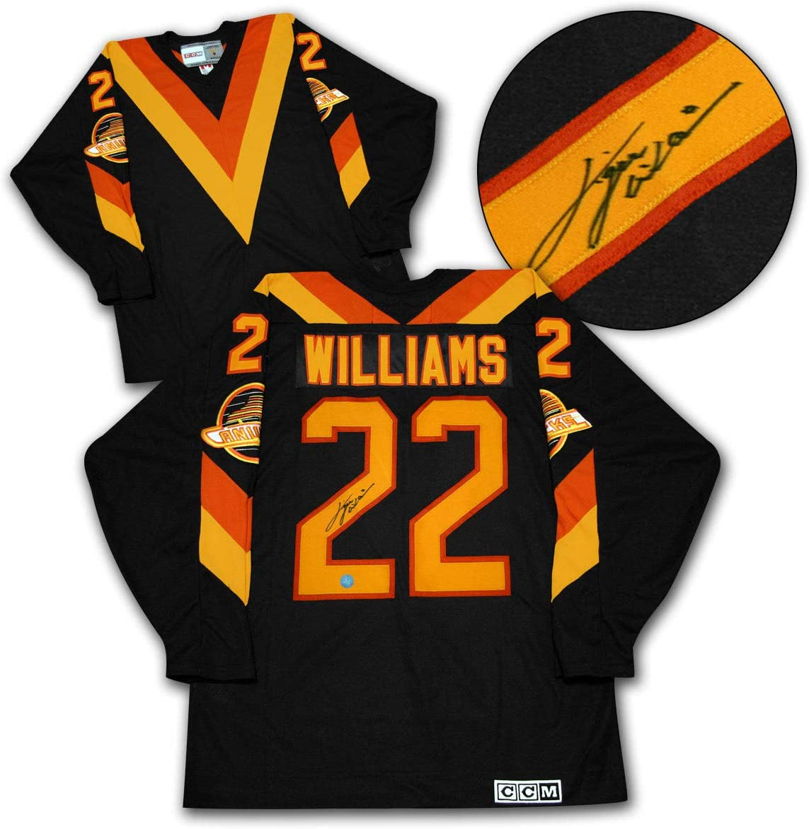 Tiger Williams Vancouver Canucks Signed With Pim Vneck Ccm Vintage Jersey At Amazon S Sports Collectibles Store