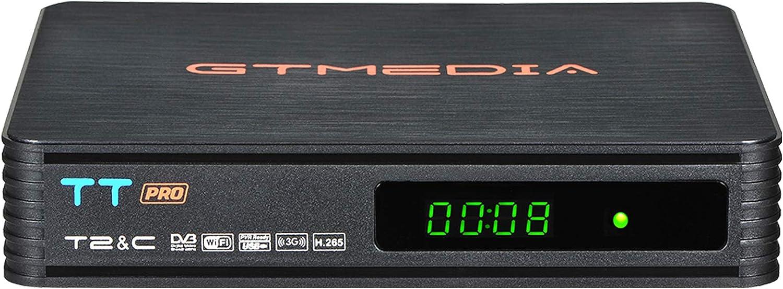 GT MEDIA TT Pro Decodificador TDT HD Terrestre Receptor de Cable TV Digital DVB-T/T2 DVB-C con Antena WiFi USB 1080P Full HD MPEG-2/4 H.265 HEVC ...