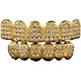 Bling King 24k Gold Plated Grillz Plated Crystals Studded Top & Bottom Set AAA Quality