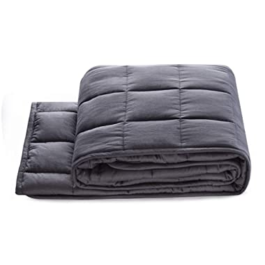 """BUZIO Weighted Blanket for Kids (5 lbs for 40-70 lbs Persons),Perfect for Relaxation, Fall Asleep Faster and Better,Idea as a Gift(36"""" x 48"""",Grey)"""