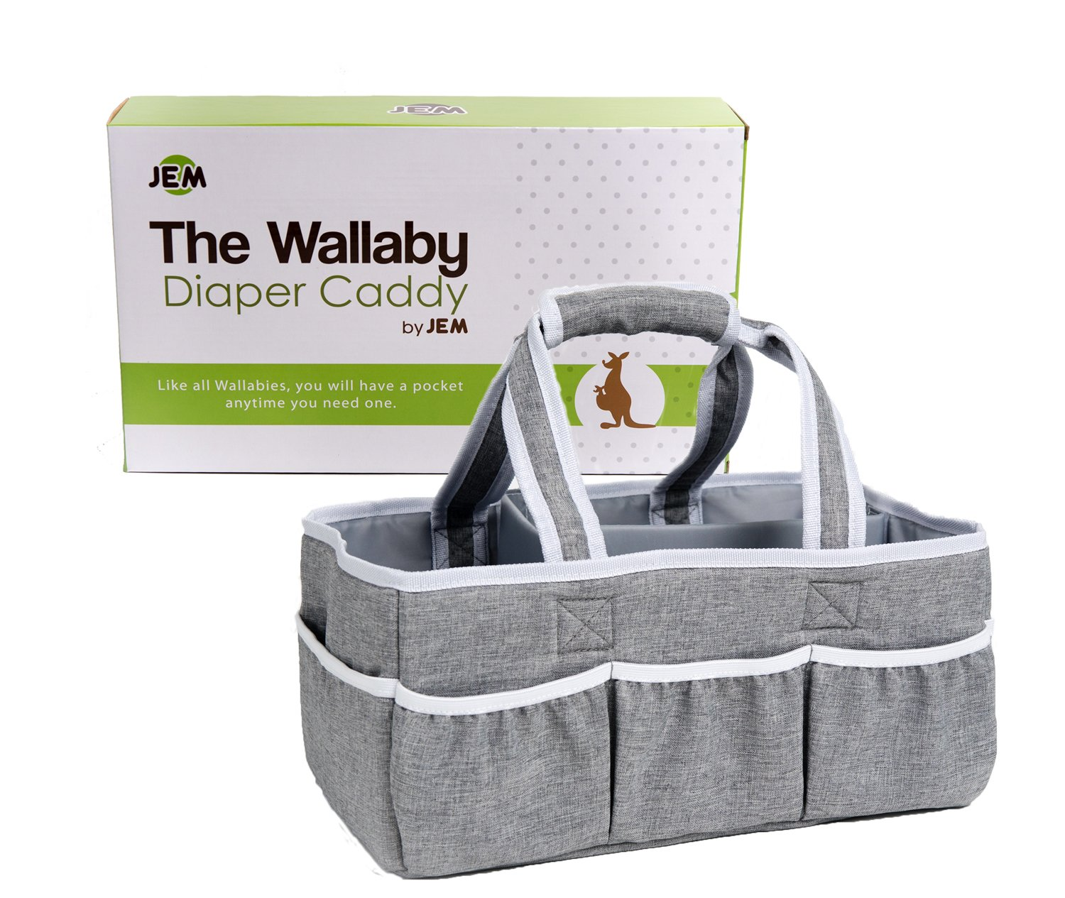 Wallaby Diaper Caddy Storage Bin - Organizer for Diapers, Wipes, Baby Bottles and More. Great for Home, Car, Travel or a Baby Shower Gift. JEM