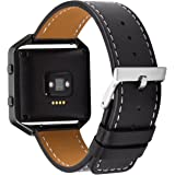 BeneStellar Fitbit Blaze Strap Leather, Leather Bracelet Strap with Metal Frame for Fitbit Blaze Smart Watch, Large & Small
