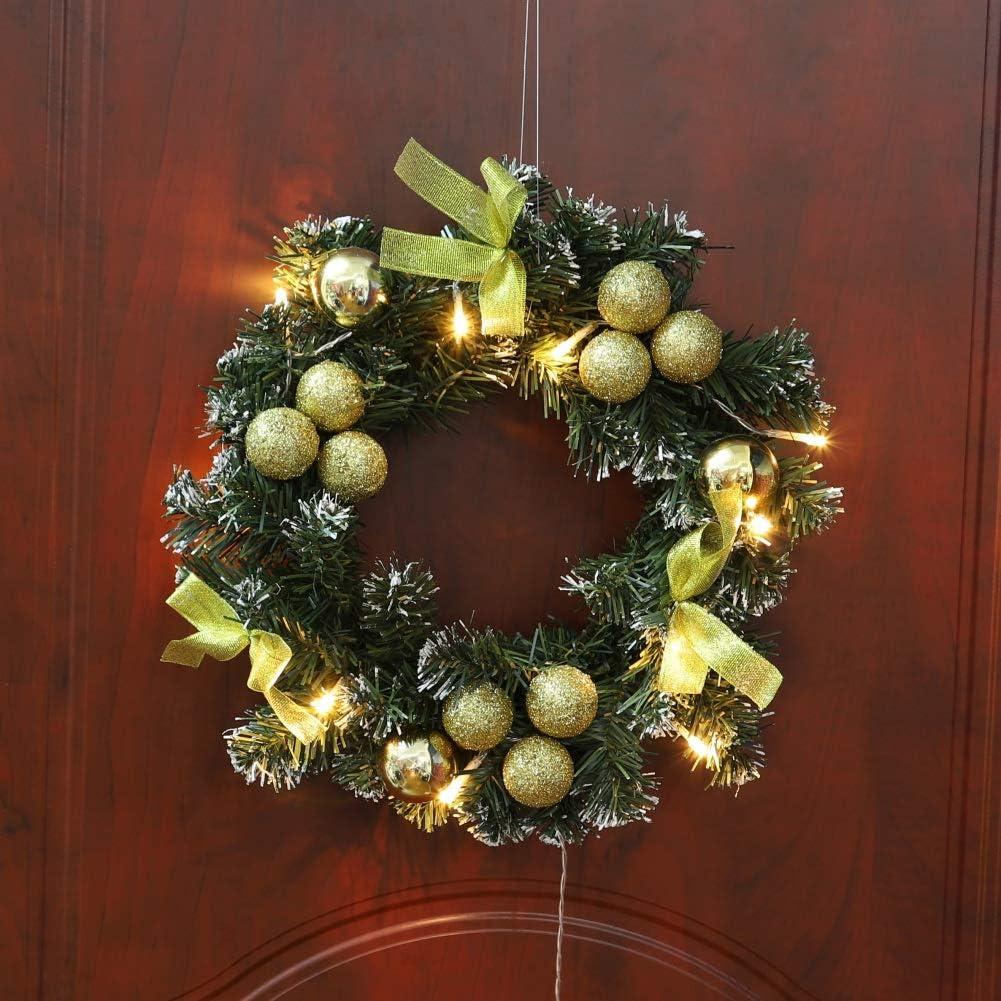 ghirlanda di Natale pre-illuminata di lusso porta finestra appeso a parete ornamenti ghirlanda ideale per la decorazione interna ed esterna Ghirlanda porta dingresso di Natale con luci a LED