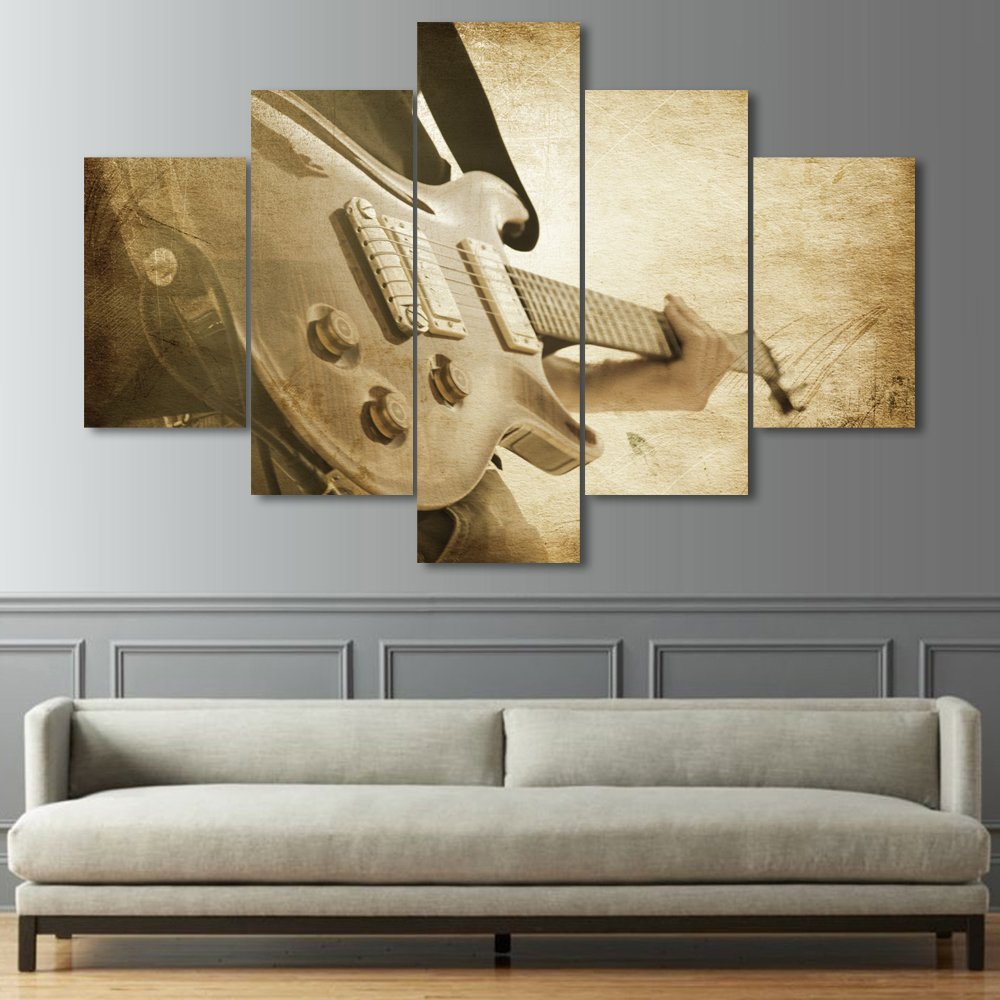 Painting on Canvas Wall Art Pictures for Living Room Print Strumming the Guitar Modern 5 Piece Home Decor Framed Posters and Prints Print Gallery Wrap Artwork Stretched Ready to Hang(60''Wx40''H)