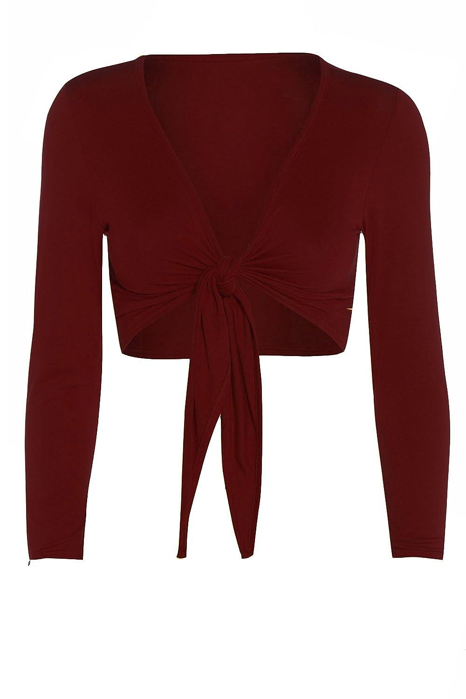GUBA Ladies Tie Knot Shrug Short Crop Cardigan Wrap Bolero Top