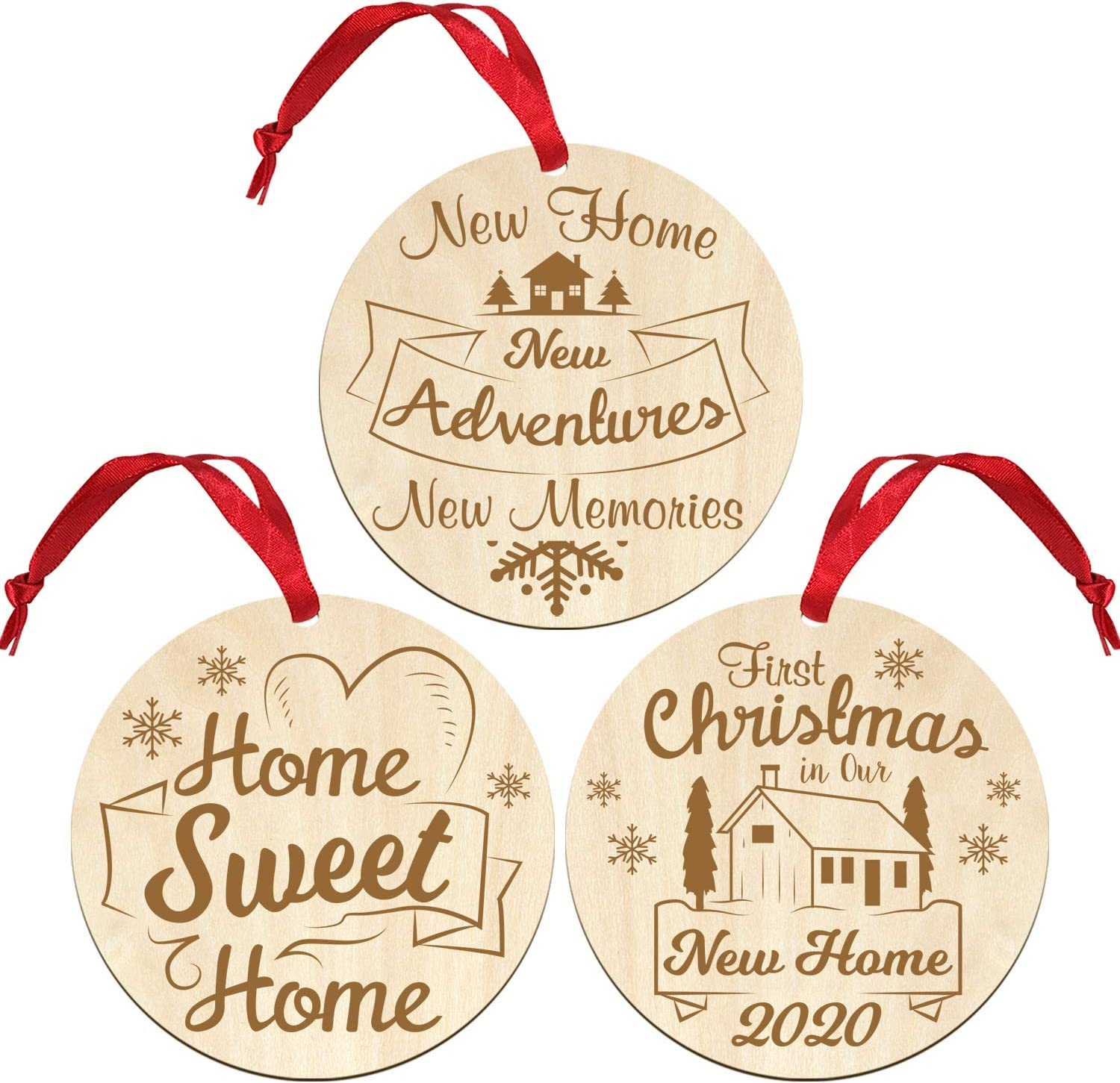 Set of 3 First Christmas in New Home Ornament 2020,Our First Home Ornament 2020,Our Sweet Home Christmas Decoration New Home Gifts for Home New House Gifts for Newlyweds