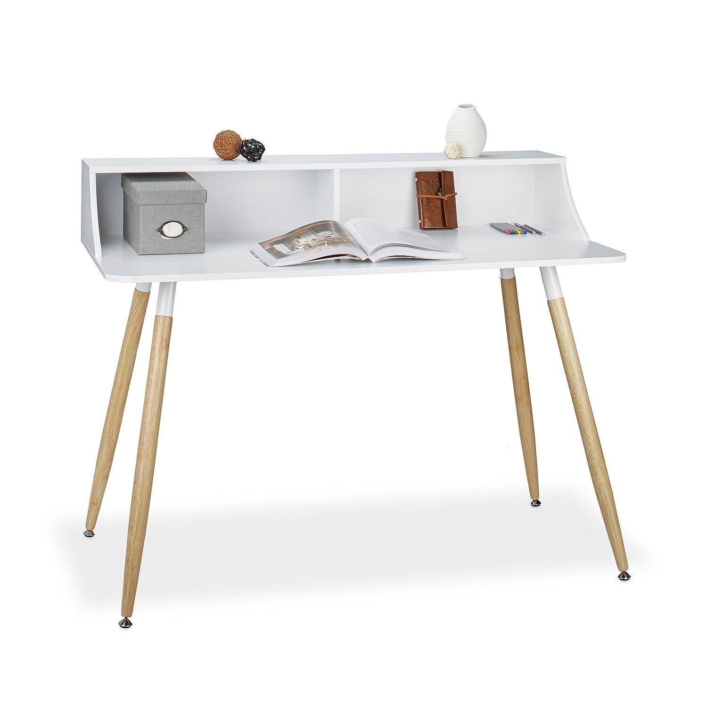 Relaxdays Scrivania Arvid 2scomparti tavolo di lavoro in legno AxLxP: 93x 120x 60cm stile retro Nordica scandinavo, Bianco 10020559_49