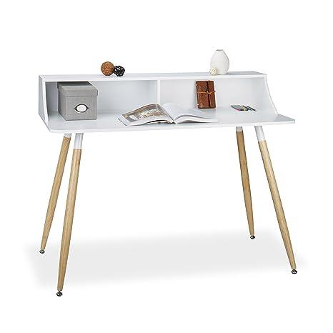 Schreibtisch Beine Holz.Relaxdays Schreibtisch Weiß Arvid Holz 2 Fächer Ablage Hxbxt 93 X 120 X 60 Cm Beine Natur Gummi Untersetzer White