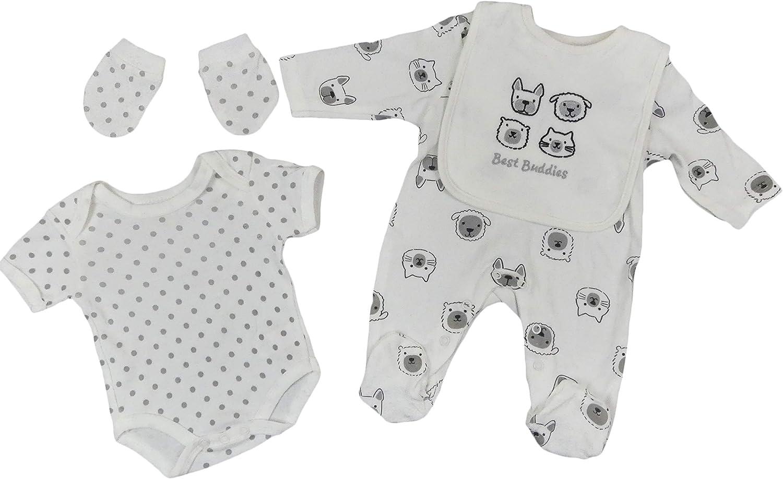 Baby Sleepsuit Vest Bib Mitts Cradle Cap Layette Five Piece Set Boys Girls Unisex