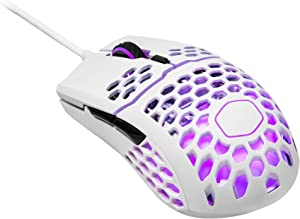 Cooler Master mm711 60G Glossy White Gaming Mouse with Lightweight Honeycomb Shell, Ultraweave Cable, 16000 DPI Optical Sensor and RGB Accents