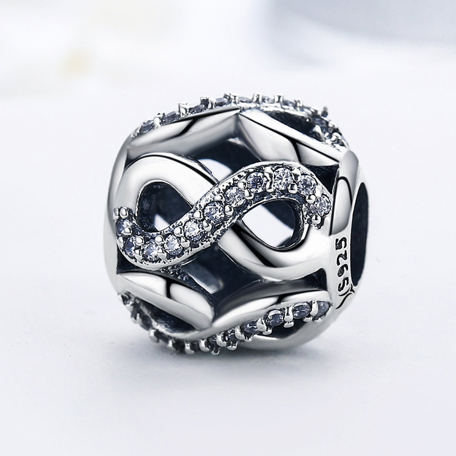 Sterling Silver Infinity Love Bead Charms,Shine Openwork Charm Beads with AAA CZ Fit Snake Chain Bracelet (Infinity Love Charm) by XingYue Jewelry (Image #4)