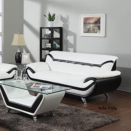 Awe Inspiring Rozene White Black Bonded Leather Sofa By Acme Furniture Dailytribune Chair Design For Home Dailytribuneorg