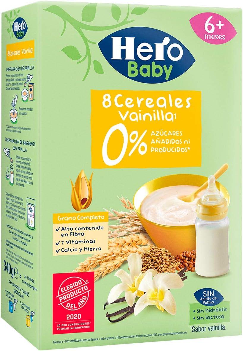 Hero Baby Papilla Cereales Vainilla Sin Azúcares Añadidos ni producidos para Bebés a partir 6 meses 340g: Amazon.es: Alimentación y bebidas