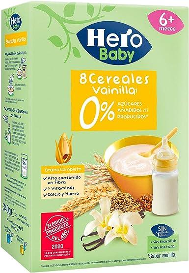 Hero Baby Papilla Cereales Vainilla Sin Azúcares Añadidos ni producidos para Bebés a partir 6 meses 340g