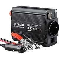 SUAOKI 220V-240V AC 12V DC Convertisseur 300W Transformateur de Tension Dual USB Ports 5V/2.1A, Corps en Aluminium, Attaches de Batterie de Voiture et Chargeur de Voiture, Noir