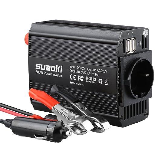 9 opinioni per Suaoki 300W Power Inverter DC 12V AC 230V Scocca in Alluminio 2 Porte USB
