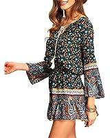Paule Trevelyan NEW nova chegada das mulheres do vintage boho dress caiu cintura mini dress impressão