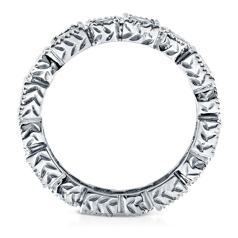 BERRICLE Rhodium Plated Sterling Silver Cubic Zirconia CZ Art Deco Anniversary Eternity Band Ring